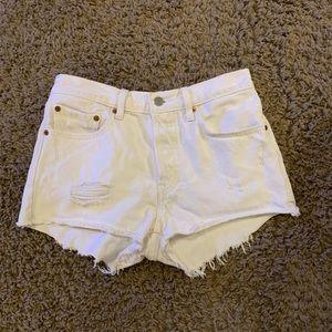 Levi's 501 white jean cutoffs button fly 26